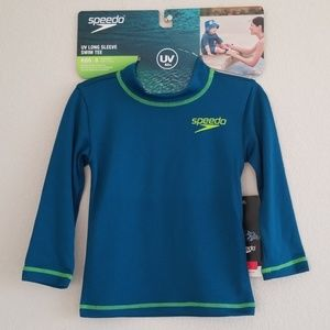 NWT Speedo Blue & Green UV Long Sleeve Swim Tee